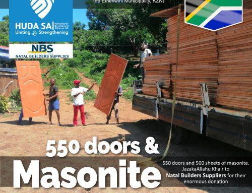 550 DOORS & 500 MASONITE SHEETS DONATED BY NATAL BUILDERS